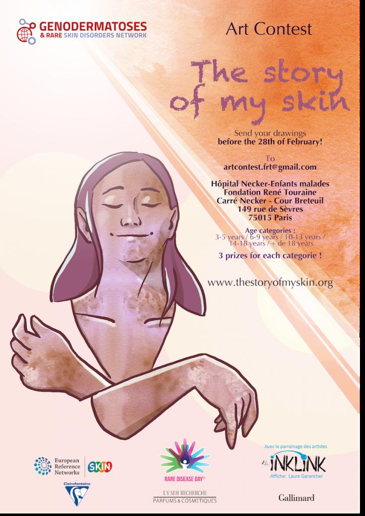 Poster des Kunstwettbewerbs. Es ist in braun beige lila Tönen gehalten. Es ist eine lächelnde gemalte Frau mit geschlossenen Augen und langen Haaren zu sehen. Die Hände sind entspannt überkreuzt. Rechts stehen die Informationen zum Wettbewerb.
