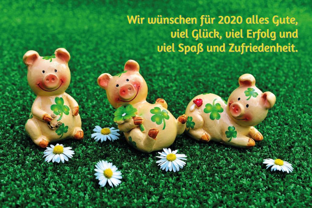 Drei Schweinchen Figuren sitzen und liegen auf einer satt grünen Wiese, davor vier Gänseblümchen. Im Bild steht der Text Wir wünschen für 2020 alles Gute, viel Glück, viel Erfolg und Spaß und Zufriedenheit.